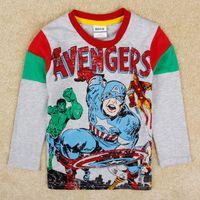 Boy designer baby clothes - Baby boys cartoon clothes Captain America long sleeve t shirts nova brand designer kids wear toddler clothing winter grey tops A5206Y