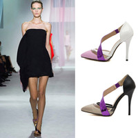 Wholesale 2014 Hot Fashion Star style T stage Show Women s Pointed Toe Color Block Thin Heel Pumps Sexy Slim Foot High heel Party Dress Shoes