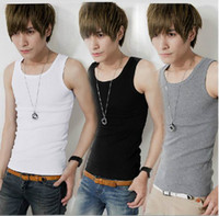 Wholesale 2015 Man Cotton Tank Tops Sports Vest Men s Bodycon Sleeveless T Shirt Slim Fit Tops Colors Choose EET