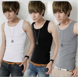 Wholesale Man Cotton Tank Tops Sports Vest Men s Bodycon Sleeveless T Shirt Colors Choose EET