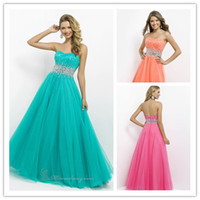2014 Charming Strapless Crystal Beaded A- Line Prom Formal Dr...