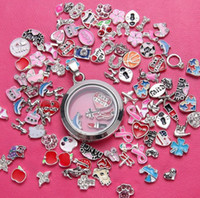Wholesale Cheap Locket Charms - Assorted models and colors floating locket charm DIY enamel crystal loose beads jewelry component cheap wholesale