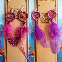 Wholesale 2015 Cheap Feather Earrings Hand Made Bohemian Feather Dangle Feather Jewellery Basketball Wives Earrings Fashion Jewelry Earring