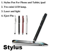 Wholesale hot new Multi function in Laser Pointer Pen Capacitive Touch Pen Stylus Mini LED flashlight Eject Pin DHL Free
