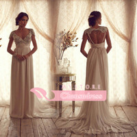 Wholesale 2014 Vintage Sheer Wedding Dresses with Lace Sequins Beaded Beach Wedding Dresses Empire Backless A Line Wedding Dresses With Capped Sleeves