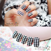 Full Natural Tips Oval Nail Tips BX00013Free shipping fashion black and white houndstooth French manicure false nails patch glue finished models A piece 24