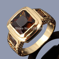 Wholesale Hot Fashion New Jewelry Percious Men s Tanzanite K Yellow Gold Filled Party Ring Gift Sale R048YBT