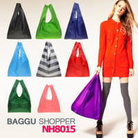 Wholesale 2014 New Candy color Japan Baggu Reusable Eco Friendly Shopping Tote Bag pouch Environment Safe Go Green