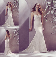 Wholesale 2014 Entire Lace Bridal Gown Sweetheart Neckline Beaded Applique Princess Fit Flare Skirt Sweep Train Wedding Dress