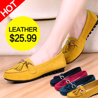 Wholesale Women s Round Toe Metal Decoration Nubuck Leather Flat Shoes Lady Casual Flats low Heels Four Colors Options
