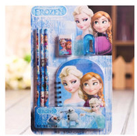 Wholesale sets in Snow princess stationery Snow princess Elsa Anna Stationery Pencil Eraser Notebook Sharpener ship immediately