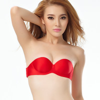 Bras Polyester Normal 2014 New High Quality Strapless Backless Push Up Silicone Adhesive Stick On Gel Breast Pad Invisible Bra Beige Black Red Full Cup A B C D