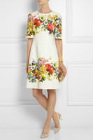 Wholesale Fashion Engineered Floral Jacquard Print A Line Women Shift Dress BT050