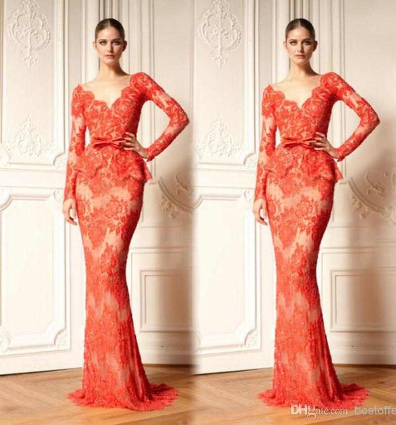 Lace appliques mermaid peplem evening gowns formal counter replica