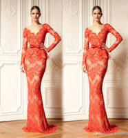 Reference Images Sweep Train Lace Long sleeves Party dress with lace appliques Mermaid peplum evening gowns zuhair murad formal counter women dress under $100