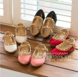 Wholesale 2014 New Arrival Girls Fashion Rivets Shoes Kids PU Princess Shoes Children s Candy Color Dress Shoes