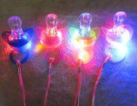 al por mayor collar de delirio-Nave libre 40pcs 9 * Buscador de regalo de Navidad 5cm divertido Led Glow chupete pezon Silbato collar de LED se encienden intermitente burbuja Rave Party Intermitente clave
