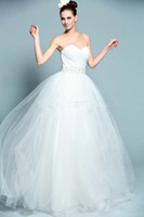 A-Line Reference Images Sweetheart Strapless Sweetheart Neckline Pleated Beading Sashes Tulle A-Line Wedding Dress Bridal Gown Real Sample Model Shown C1228