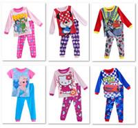 Wholesale Children Pajamas PJ S suits frozen Girls Princess Pyjamas sets long sleeve nightgown Boys Clothes suits
