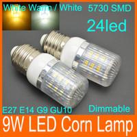 Wholesale G9 E27 E14 GU10 W leds SMD LED Corn Light Bulb LED Lamp Warm White Or White lighting V V degree Dimmable corn bulbs