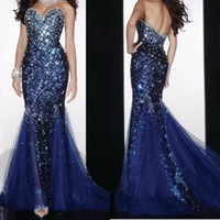 custom made evening dresses - 2015 Custom Made Evening Gowns Royal Blue Sequined Sweetheart Blink Rhinestones Fabulous Formal Dress Mermaid Prom Dress
