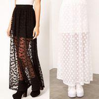 Wholesale Details about Black White Sexy Women Vintage Gauze Pleated Long Maxi Dress Elastic Waist Skirt