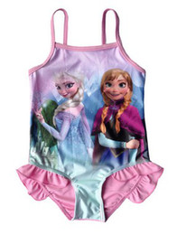 Wholesale New Summer kids Children Girls Frozen Elsa Anna Child One Piece Bathing Suit Condole Belt Printing One Piece Girl Dress Swimwear E0095