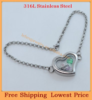 Slap & Snap Bracelets Women's Chain & Link Bracelets Wholesale DIY 20mm heart Plain Silver magnetic 316L stainless steel glass floating lockets with pearl rolo chain bracelets B94
