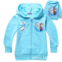 Wholesale Kids Girl Boy Child Baby Long Sleeve Snow Queen Princess Frozen Elsa Anna Olaf Blue Cotton Fleece Hoodie Zip Jackets Jumper H0140756