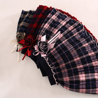 Wholesale Plaid TUTU Baby girls Skirts Kids girl fashion pink red grey D flower autumn mini dress