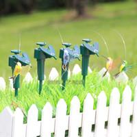 Wholesale 2014 NEW Solar hummingbirds Solar flying bird romantic Kids Toy Flying butterflies Patio Lawn Garden yard Decorations christmas gift A176H