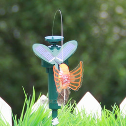 Wholesale 2014 Hot Solar hummingbirds with plastic wing romantic butterflies Kids Toy Flying Fluttering Birds Patio Lawn Garden Decorations A176H