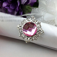 serviettes - 200pc Light Purple Diamond Gem Napkin Rings Serviette Holder Wedding Banquet Dinner Table Decoration Favor O J148