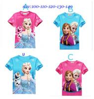 Girl Summer Short 4Styles children T-shirts frozen girls cotton shirts Elsa Anna printed cute baby girl t shirt summer kids tops child tees 2 3 4 5 6 7T
