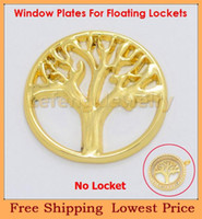 Charm Bracelets Plates-W35 Trendy 2014 Most Popular 22mm Gold Tree Floating Window Plates For 30mm Glass Living Lockets