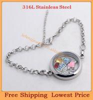 Slap & Snap Bracelets Unisex Chain & Link Bracelets Wholesale fashion DIY 30mm silver round plain 316L stainless steel floating charms magnetic living glass lockets bracelets B33