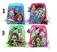 New 4 styles monster high drawstring bags cartoon bags child...