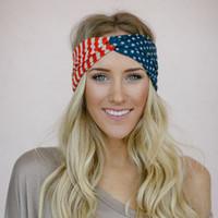 Wholesale American Flag Headband USA Hair Band Red White and Blue Fashion women hair Accessory girl Turban head wrap in Classic