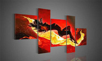 Yes Global Art No handmade 5 piece red modern abstract oil painting on canvas wall art naked woman pictures for home decor or hotel free shipping