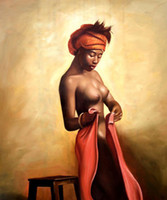 Wholesale sexy naked African Americans girl printed oil painting on canvas wall art nude prints picture for home decoration or hotel