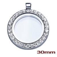 Cheap Lockets Glass Lockets Best South American Unisex CZ Crystal Round Pendant