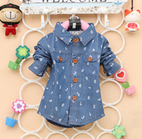 baby boy denim jacket - 2014 baby boy girl Autumn Shirts Outwear Jackets Cardigan denim numbers children clothes kid clothing wear