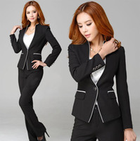 Women Skirt Suit Formal New Arrival 2014 Spring and Autumn Formal Pant Suits for Women Business Sets Ladies Work Suits Plus Size XXXL Slim Black