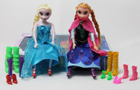 Wholesale Frozen Elsa amp Anna Doll Joint Moveable Dolls Baby Action Figures Plastic Toys with Shoes cm Inches with Retail Box