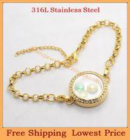 Slap & Snap Bracelets Unisex 7''(18cm)+2''(5cm) 2014 New Wholesale DIY 7''+2'' 25mm crystal Gold magnetic 316L stainless steel living glass floating locket bracelet jewelry B48