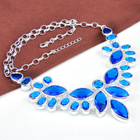Wholesale New Brand sterling silver plated Necklace blue topaz gemstone wedding jewelry N0568