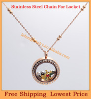 Chains Fashion Necklaces Wholesale Fashion 3mm 18'' Stainless steel Rose Gold couple ball rolo chain for floating charm glass living locket,no locket C64