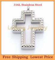 Pendant Necklaces magnetic pendant - 2014 Fashion Cross Silver Crystal Glass Floating Lockets L Stainless Steel Magnetic Living Locket Pendants P326