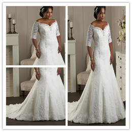 Wholesale Unforgetable Sweetheart Lace Plus Size Wedding Dresses With Appliques Crystals Sweep Train Hemline Lace up Back Sleeve Bridal Gowns Gown