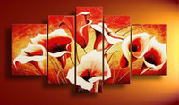 Wholesale handpainted piece red flowers pictures modern decorative oil paintings on canvas wall art for living room home decoration